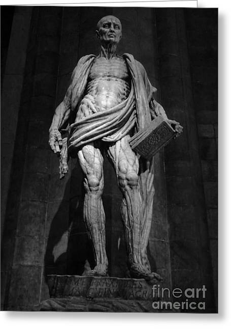 St. Bartholomew In Milan Cathedral By Marco D'agrate In Black And White Greeting Card by Gregory Dyer