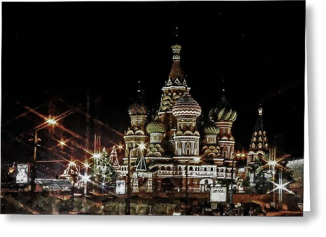 Soviet Union Paintings Greeting Cards - St. Basil cathedral on Red Square in Moscow Greeting Card by Lanjee Chee