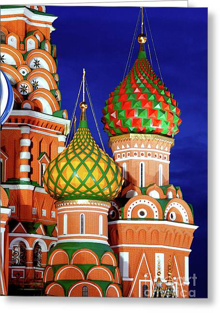 Cupola Greeting Cards - St Basils Cathedral in Moscow Russia Greeting Card by Oleksiy Maksymenko