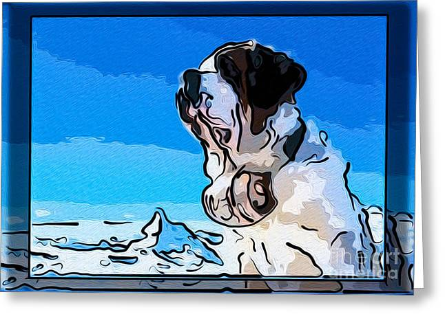 St Bernard And A Mountain Dog Abstract Painting Greeting Card by Omaste Witkowski