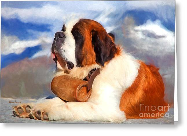 St. Bernard Dog Greeting Card by Garland Johnson