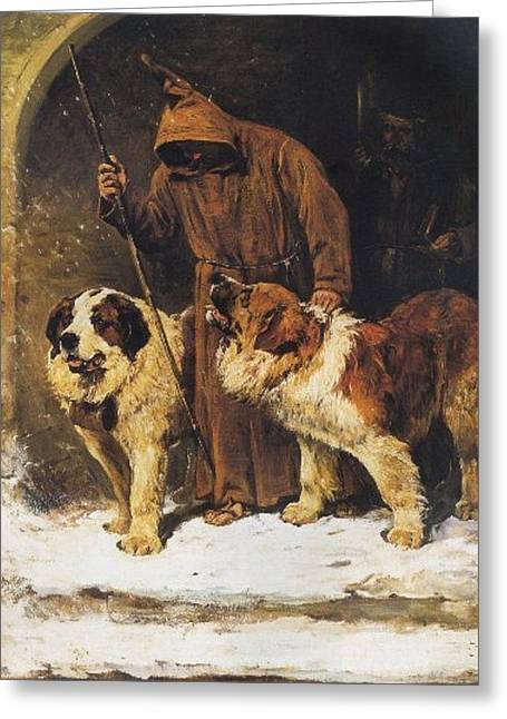 St. Bernards To The Rescue Greeting Card by John Emms