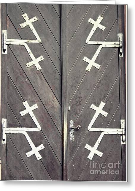 Gothic Germany Greeting Cards - St. Bonifatius Church Doors 1 Greeting Card by Sarah Loft