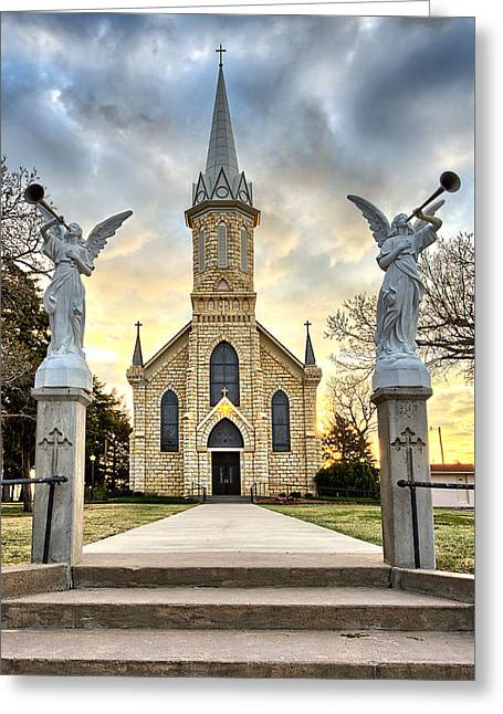 Limestone Greeting Cards - St. Catherine Church Greeting Card by Thomas Zimmerman