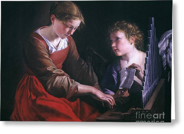 Playing Angels Greeting Cards - St. Cecilia And An Angel Greeting Card by Granger