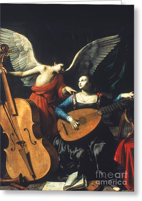 Double Bass Greeting Cards - St. Cecilia And The Angel Greeting Card by Granger