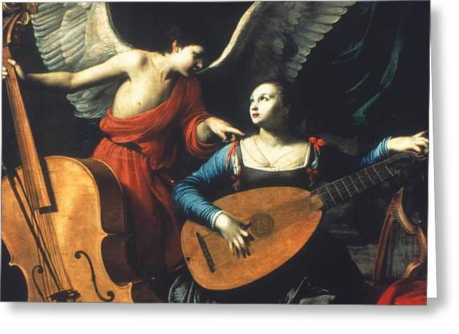 ST. CECILIA AND THE ANGEL Greeting Card by Granger