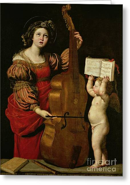 Double Bass Greeting Cards - St. Cecilia with an angel holding a musical score Greeting Card by Domenichino