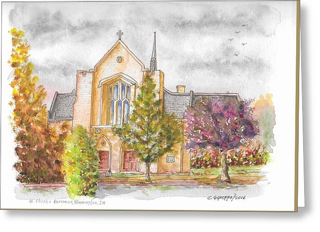 St. Charles Borromeo Catholic Church, Bloomington, Indiana Greeting Card by Carlos G Groppa