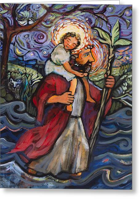 Finding Greeting Cards - St. Christopher Greeting Card by Jen Norton
