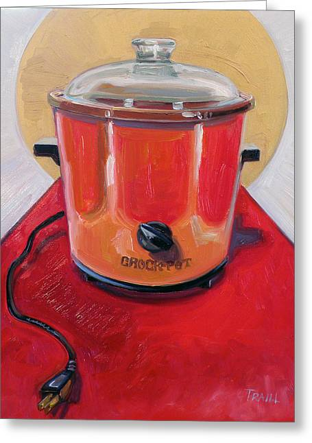 St. Crock Pot In Orange Greeting Card by Jennie Traill Schaeffer