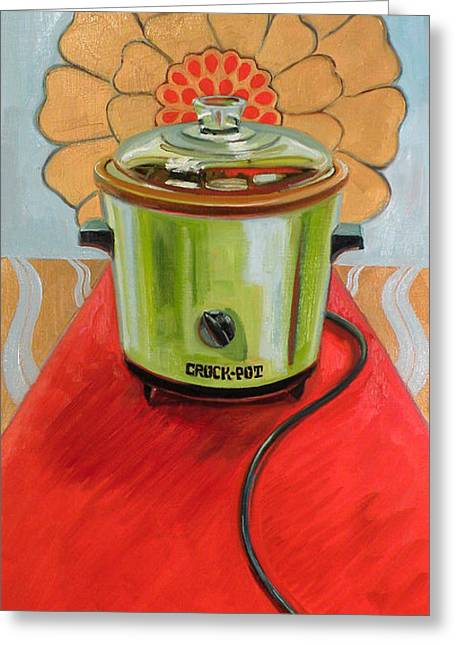 """red Carpet"" Greeting Cards - St. Crock Pot of the Red Carpet Greeting Card by Jennie Traill Schaeffer"