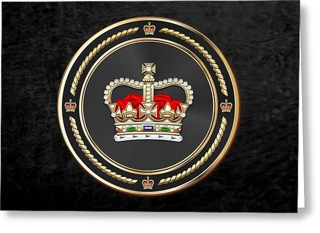 St Edward's Crown - British Royal Crown Over Black Velvet Greeting Card by Serge Averbukh
