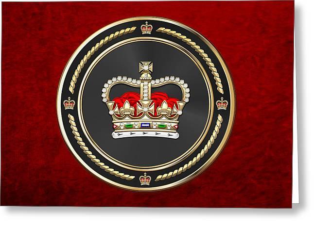 St Edward's Crown - British Royal Crown Over Red Velvet Greeting Card by Serge Averbukh
