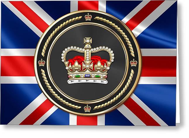 St Edward's Crown - British Royal Crown Over Uk Flag  Greeting Card by Serge Averbukh