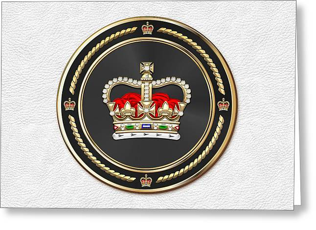 St Edward's Crown - British Royal Crown Over White Leather  Greeting Card by Serge Averbukh