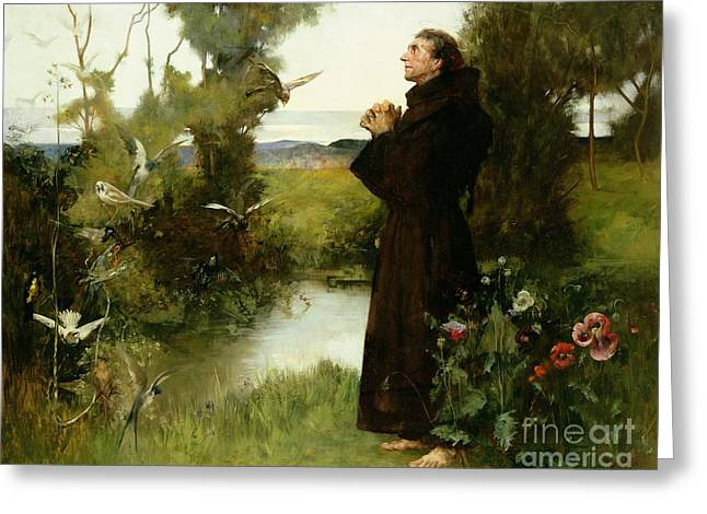 Praying Greeting Cards - St. Francis Greeting Card by Albert Chevallier Tayler