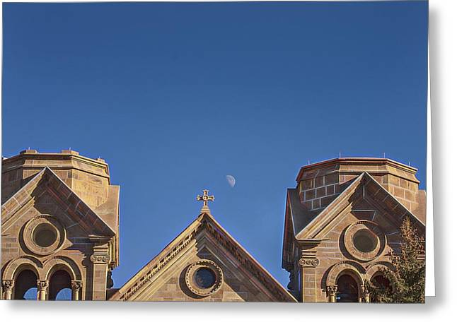 Francis Greeting Cards - St. Francis Cathedral And Rising Moon Greeting Card by Timothy Sens