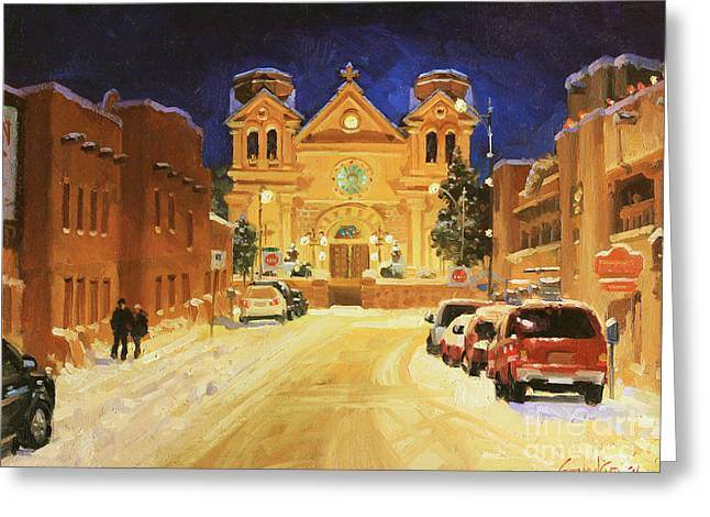 Winter Landscape Paintings Greeting Cards - St. Francis Cathedral Basilica  Greeting Card by Gary Kim