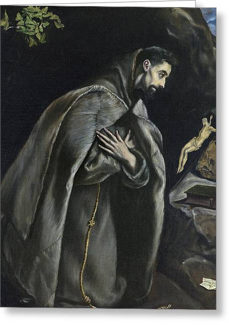 St Francis In Prayer Before The Crucifix Greeting Card by El Greco