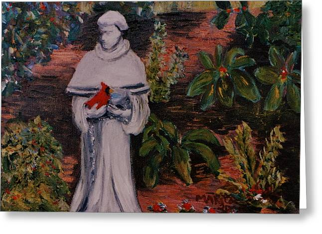 Patron Saint Of Animals Greeting Cards - St Francis In The Garden Greeting Card by Marita McVeigh