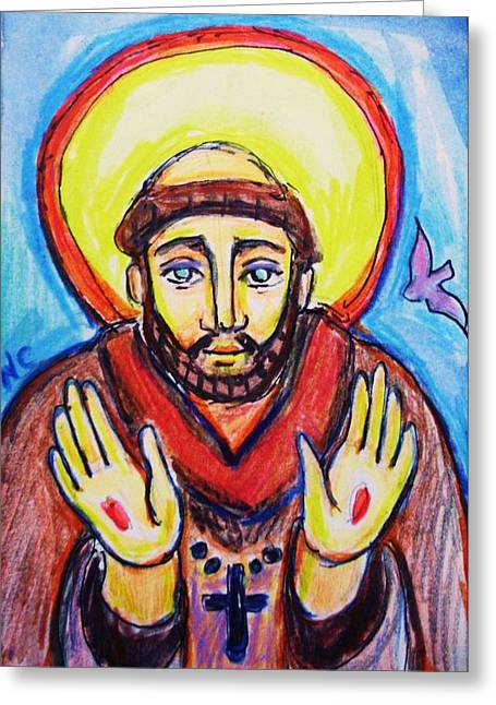 Stigma Greeting Cards - St. Francis Greeting Card by Nancy  Connolly