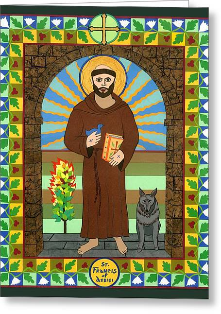 Francis Mixed Media Greeting Cards - St. Francis of Assisi Icon Greeting Card by David Raber