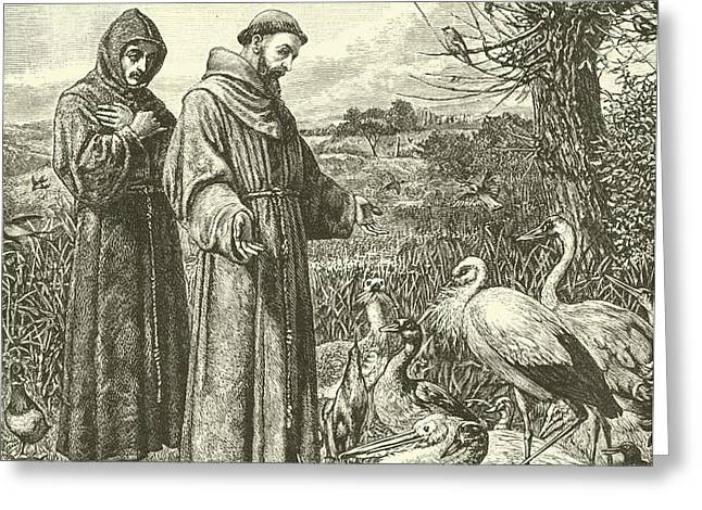 Religious Drawings Greeting Cards - St Francis preaching to the birds Greeting Card by Henry Stacey Marks