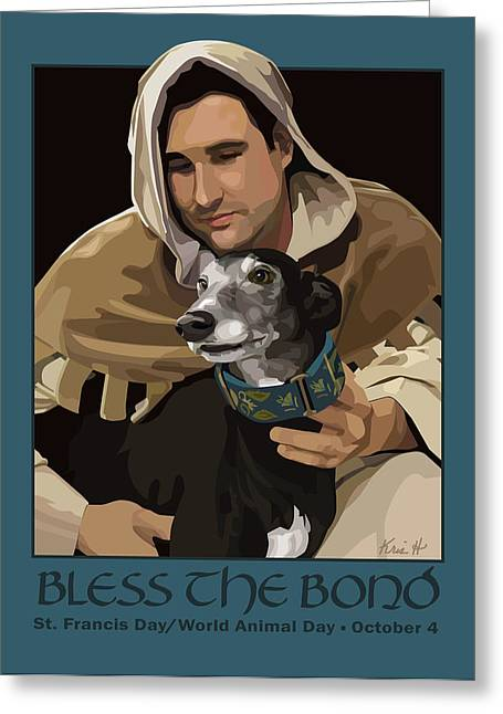 Greyhound Dog Digital Art Greeting Cards - St. Francis with Greyhound Greeting Card by Kris Hackleman