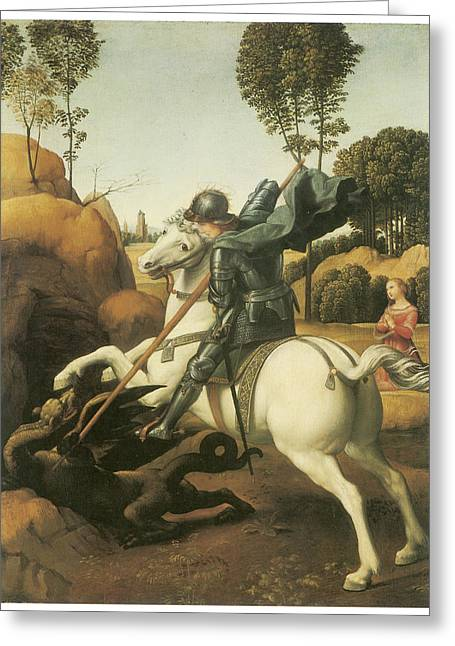 St. Raphael Greeting Cards - St. George and the Dragon Greeting Card by Raffaello Sanzio