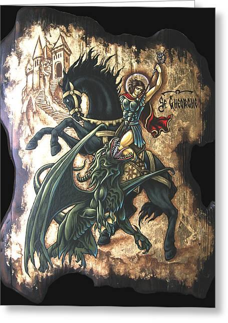 st George fighting the Dragon Greeting Card by Iosif Ioan Chezan