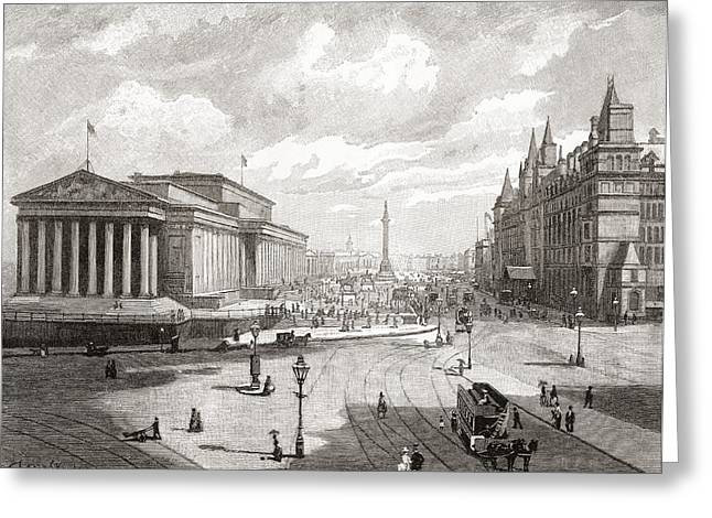 City Hall Drawings Greeting Cards - St. George S Hall And Lime Street Greeting Card by Ken Welsh