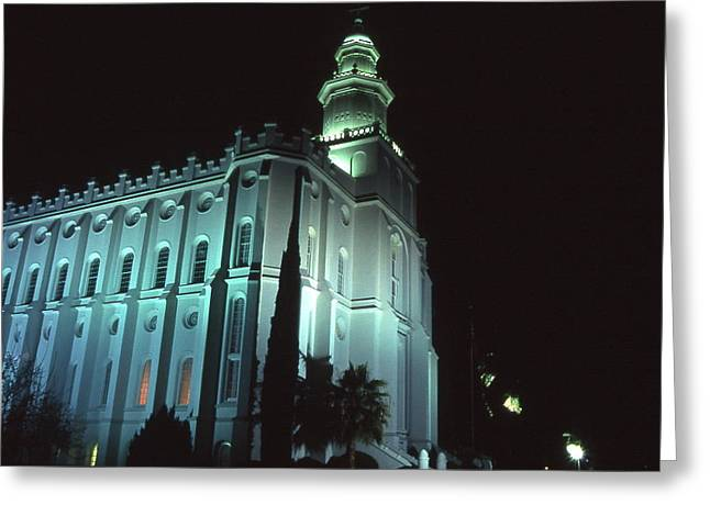 St. George Temple Greeting Cards - St. George Temple at Night 2 Greeting Card by Cynthia  Cox Cottam