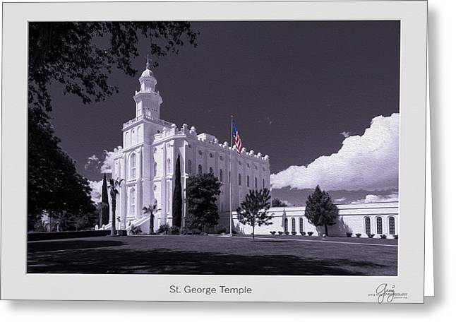 St. George Temple Greeting Cards - St. George Temple B W Colored Flag Stylized Greeting Card by Greig Huggins