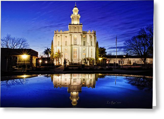 St. George Temple Greeting Cards - St George Temple Reflection Greeting Card by La Rae  Roberts