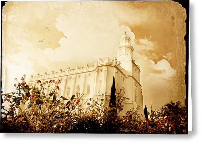 St. George Temple Greeting Cards - St George Temple Roses Greeting Card by La Rae  Roberts