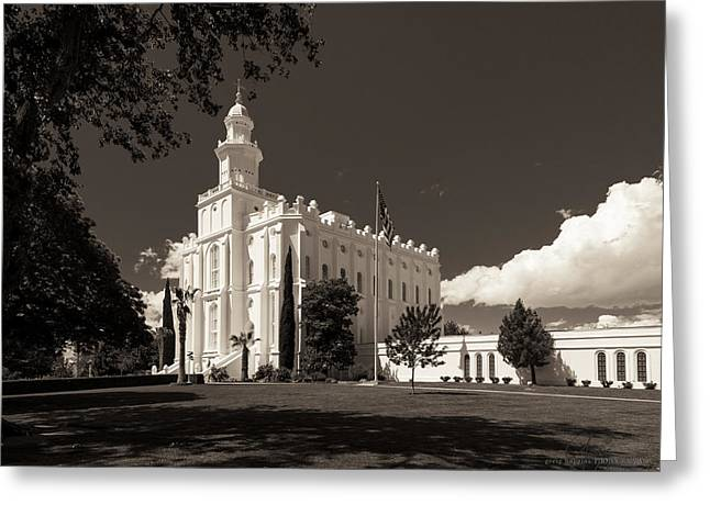 St. George Temple Greeting Cards - St George Temple Sepia Greeting Card by Greig Huggins
