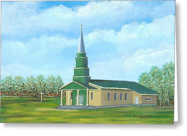 Church Pillars Paintings Greeting Cards - St. Helens - Sacred Ground Greeting Card by Shelley Zwingli