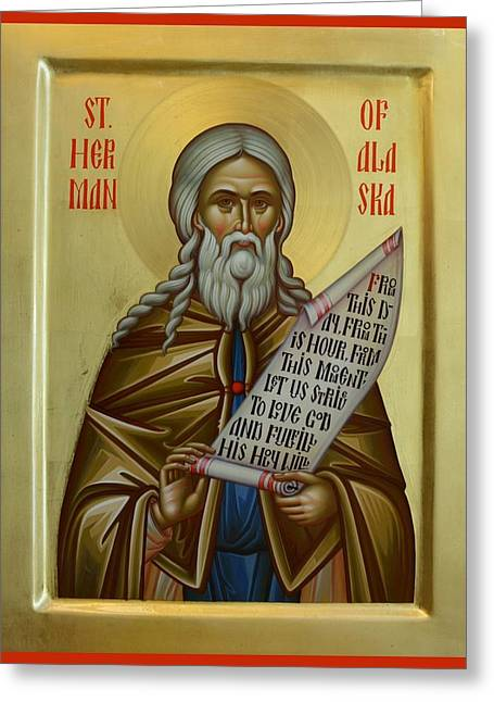 St Herman Of Alaska Paintings Greeting Cards - St. Herman of Alaska Greeting Card by Daniel Neculae