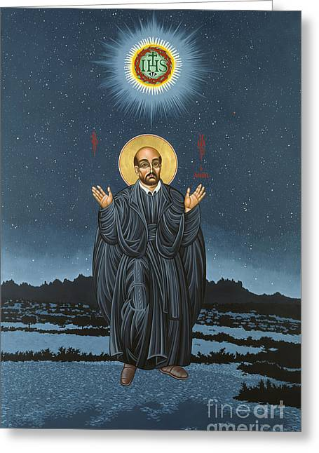 Triptych Greeting Cards - St. Ignatius in Prayer Beneath the Stars 137 Greeting Card by William Hart McNichols