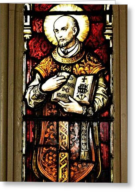 Charlotte Greeting Cards - St. Ignatius Stained Glass Greeting Card by Richard Jenkins