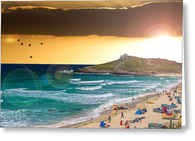 Lens Flare Greeting Cards - St Ives Cornwall UK Greeting Card by Martin Newman