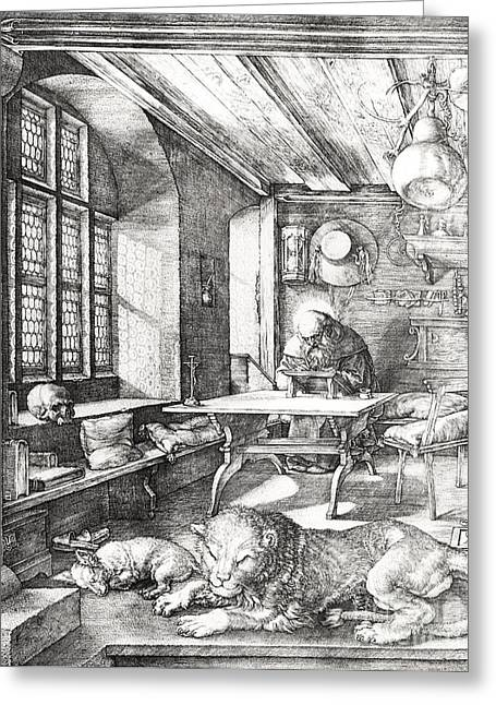 Sit-ins Drawings Greeting Cards - St Jerome In His Study Greeting Card by Albrecht Durer or Duerer