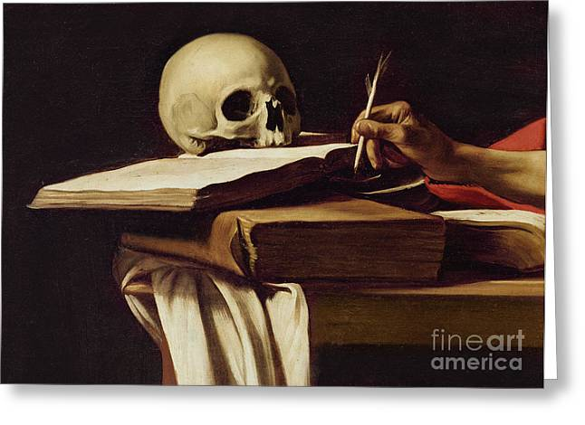 Close Up Paintings Greeting Cards - St. Jerome Writing Greeting Card by Caravaggio
