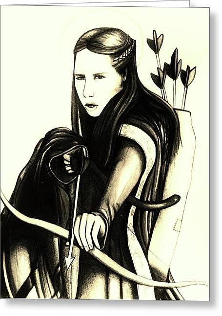 St. Joan Of Arc Greeting Card by Mary Ellen Frazee