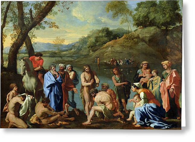 St. John Baptising The People Greeting Cards - St John Baptising the People Greeting Card by Nicolas Poussin