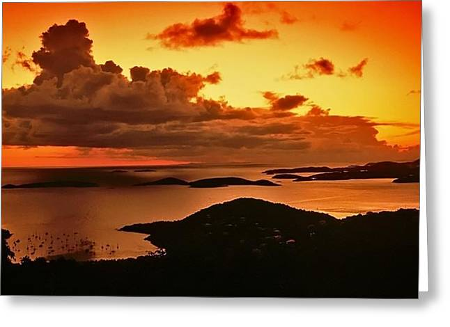 St. John Sunset Greeting Card by Bill Jonscher