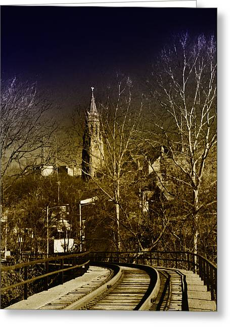 Philadelphia Greeting Cards - St. John the Baptist from the Rail Road Trestle in Manayunk Greeting Card by Bill Cannon