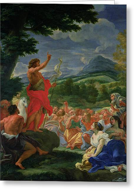 Religious Paintings Greeting Cards - St John the Baptist Preaching Greeting Card by II Baciccio - Giovanni B Gaulli