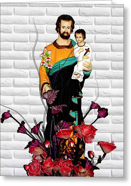 China Greeting Cards - St Joseph holding Baby Jesus - Catholic Church Qibao China Greeting Card by Christine Till